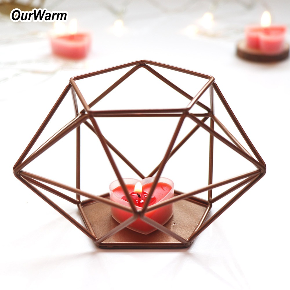 Kerzenhalter Wohnkultur Intellektuell Ourwarm Gold Metall Geometrische Kerzenhalter Hochzeit Mittelstücke Kerze Stehen Diy Dekorationen Blume Korb