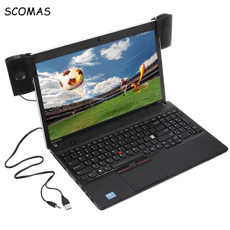 SCOMAS Bærbar Mini USB Stereo Speaker Soundbar Clipon Høyttalere for Notebook Laptop Telefon Music Player Computer PC med Clip