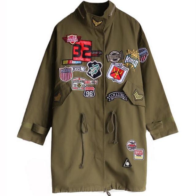 Harajuku Outono Womens Casual Exército Verde Longo-luva Carta Applique Remendo projeto de Médio-longo Outerwear Trincheira Casaco de Alta qualidade