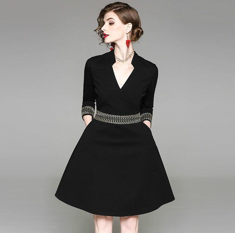 New Women Vintage Dresses 2018 Spring Autumn Fashion 3/4 Sleeved Black Party Dress Ladies Elegant V Neck Office Wear Robe