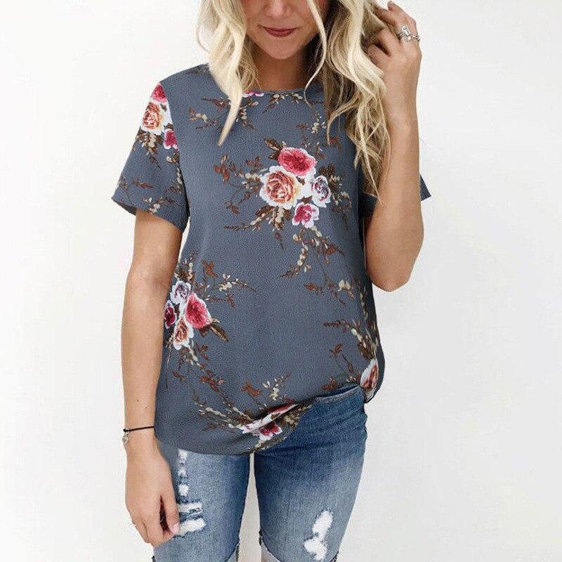 CUHAKCI Women Casual Shirts Floral Print Top Summer Short Sleeve Blouse White Top Blouses Beach Shirt Plus Size Blusas XXXL
