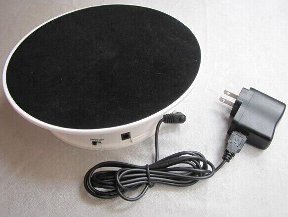 """Free envio nova marca top 8 """"rotating display stand turntable powerd de veludo preto da bateria ou adaptador"""