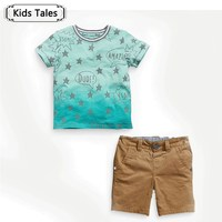 ST239 2018 summer boys clothes boy   clothing     set   star template T-shirt + pants 2 pcs /  set   toddler boys clothes kids clothes   set