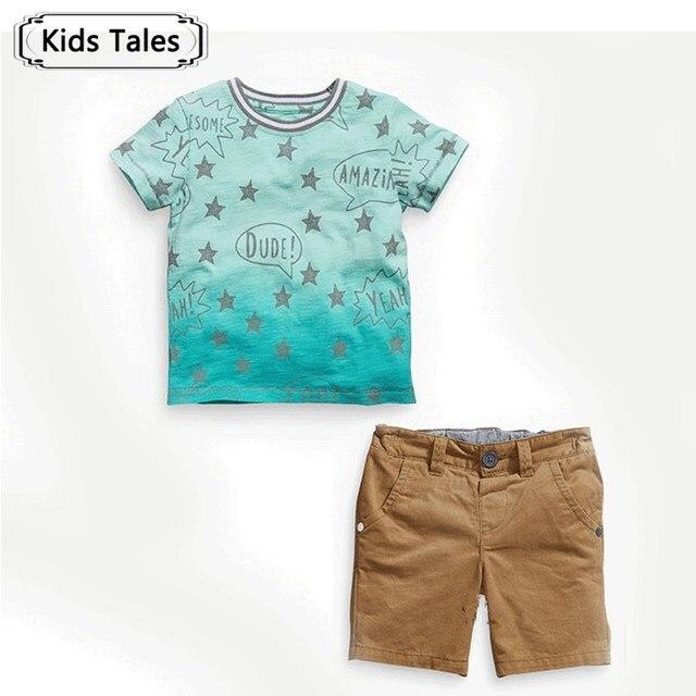 1ce9e20a5 ST239 2018 verão meninos roupas menino T-shirt + calças conjunto de roupas  estrela modelo
