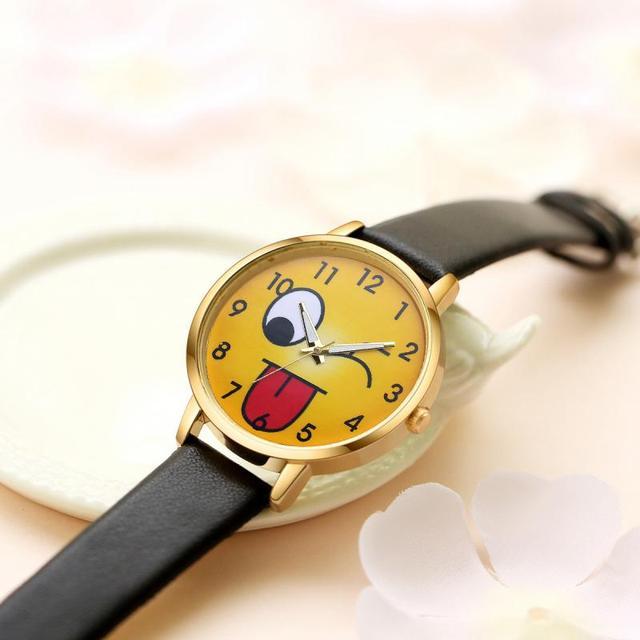 Fashion Creative Emoji Unisex Watches Cute Girls Children Wrist Watch Kids Expression Relojes Gift Women's Ladies Quartz Clock