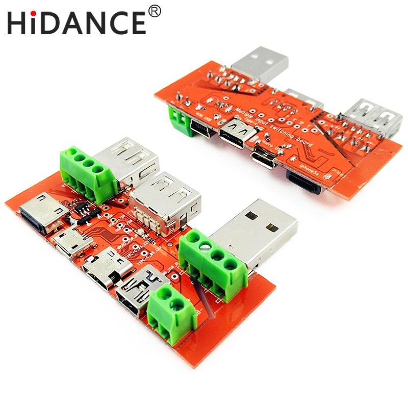 USB tester amperemeter kapazität monitor Instrumente teile Blitz Typ c Micro USB MiNi USB kabel Adapter konverter bord