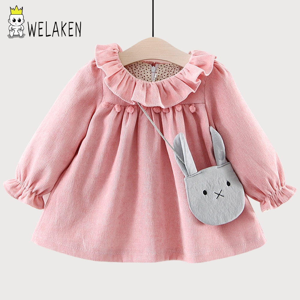 weLaken 2018 New Hot Girls Dress Cute Kids Baby Outwear Winter Velvet Thicken Cotton Ruffled Prince Dress Children Clothing Bag white casual round neck ruffled dress