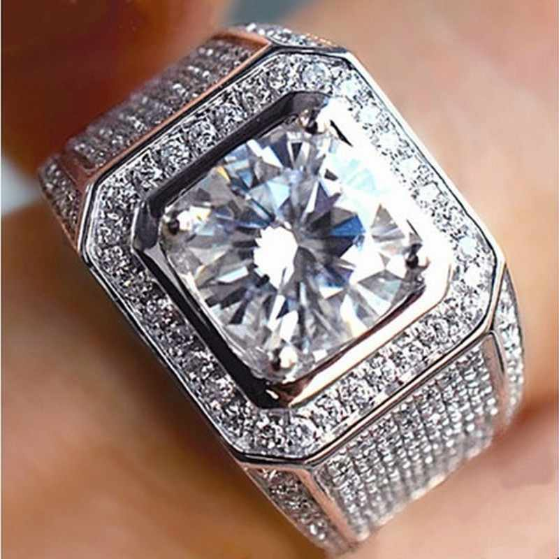 G ALAXYหรูหราคลาสสิกวินเทจผู้ชายแหวนเงินจริงชุบ8มิลลิเมตรD Iamantหินแหวนแต่งงานสำหรับผู้ชายขนาด8/9/10/11