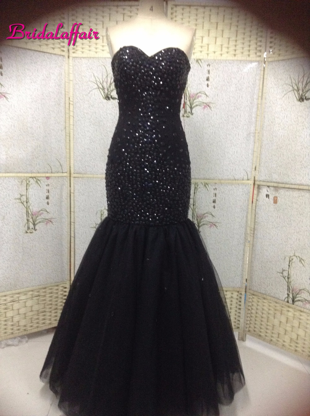 Sexy Black Mermaid Prom   Dresses   2019 Custom made Sweetheart Long   Evening     Dress   with Crystals Corset Back Party   Dress