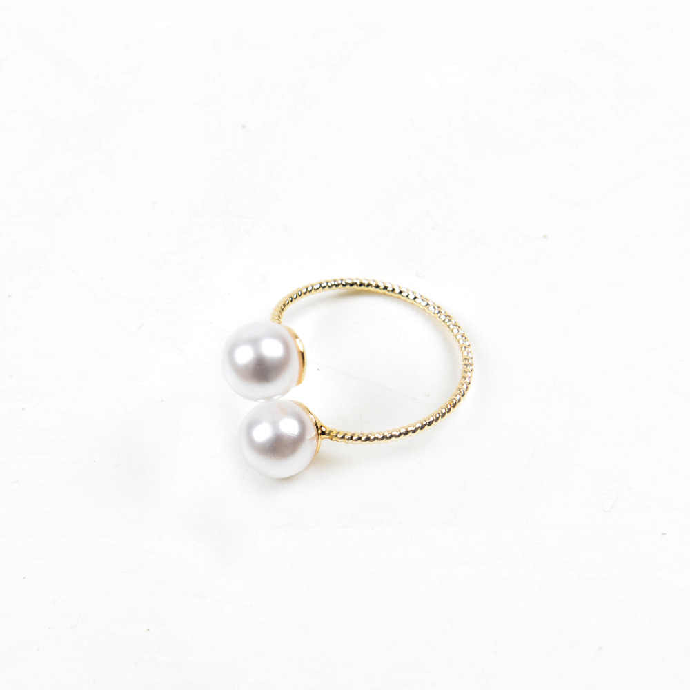 STRATHSPEY אופנה חדש נשים זהב צבע עגול לבן פנינה כפולה פתוח Adjustbale קסמי טבעת עבור בנות תכשיטי Bijoux מתנות