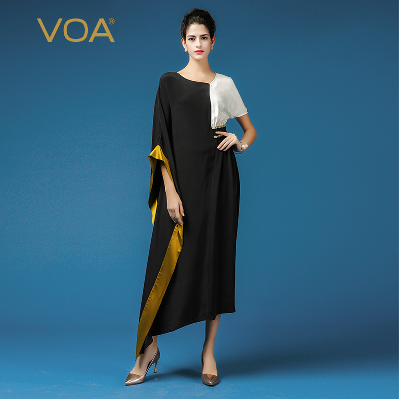 aa3539f5879 VOA Black Plus Size Casual Muslim Robe Dress Sexy V Neck Heavy Silk Women  Irregular Maxi Long Dresses 2018 Autumn Clothes A7336-in Dresses from  Women s ...