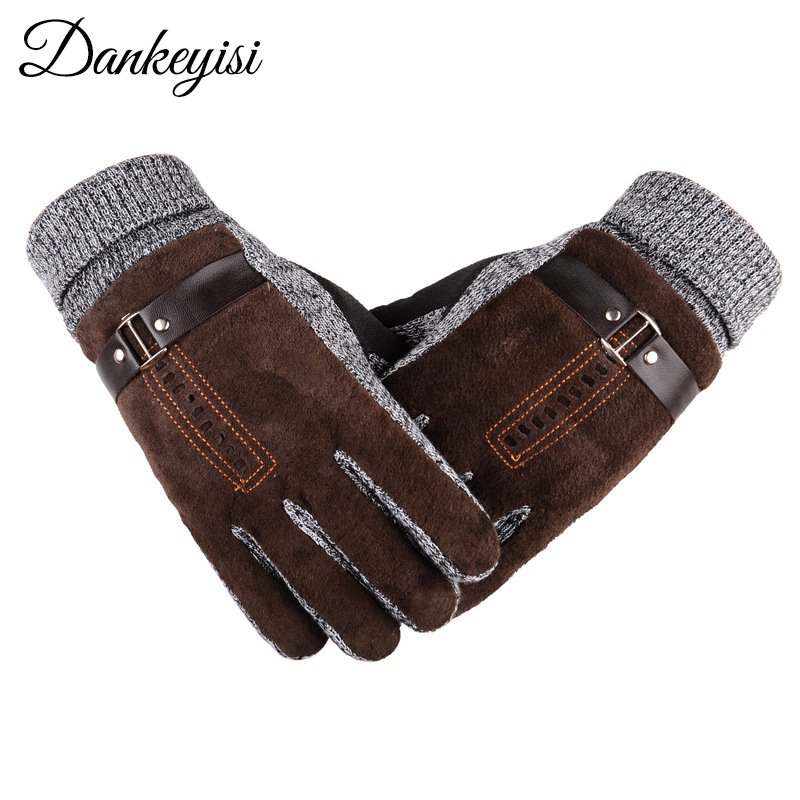 DANKEYISI Outdoor Sport Leather Gloves Men Women Winter Warm Gloves Female Male Windproof Waterproof Army Guantes Running Gloves