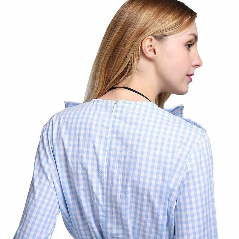 GALCAUR милое стильное клетчатое платье для женщин с круглым вырезом Бандаж с высокой талией рукава-фонарики с оборками Мини платья женские 2019 весна мода