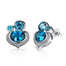 Romantic Natural blue Topaz Stud Earrings Female Real Pure 925 Silver Stud Earrings for woman for party Fine Jewelry earrings