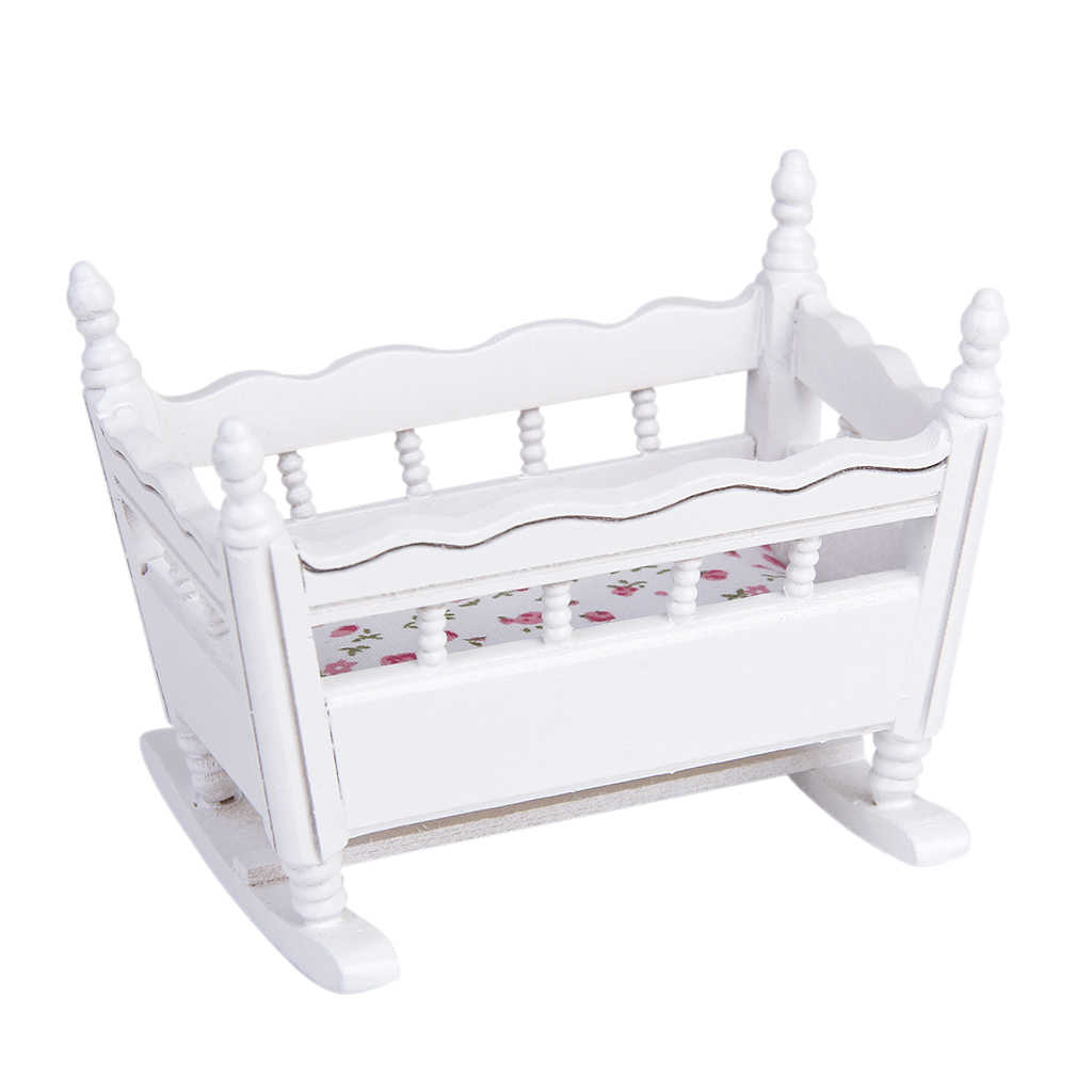 Unisex 1/12 Dolls House Miniature White Wooden Nursery Cradle Baby Crib 1:12 Dollhouse Furniture Decorate Kids Room Accessory