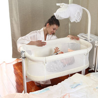 Baby Crib for Newborn Solid Wood Bedside Multifunctional Portable Baby Bed Mosquito Net Big Bed Infant Travel Sleeper