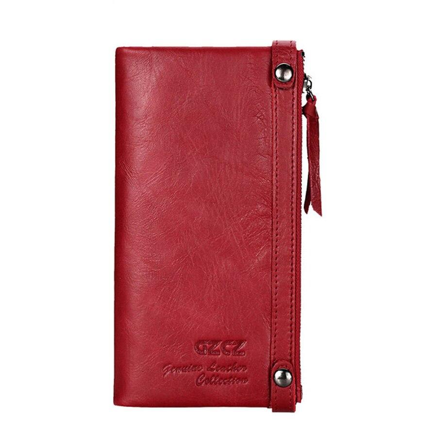 Véritable cuir femmes Long portefeuille coques de téléphone 5.5 pouces pour iPhone femelle fermeture éclair pince pour argent pochette porte-monnaie porte-carte - 4