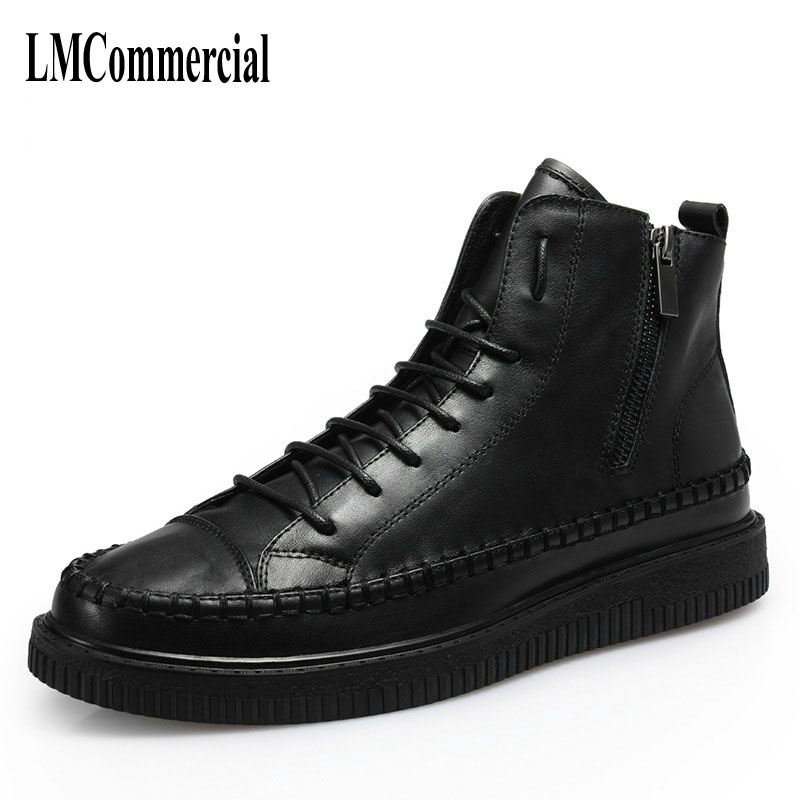 16 winter hightops male British leather daily leisure short leather boots Martin boots shoes shoes and cotton shoes fall trendboots in europe and america heavy bottomed martin boots british style high top shoes shoes boots sneakers