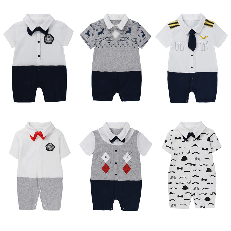 1763fdcc9 baby boy fake two pieces short sleeves romper animal print new born ...