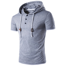 MarKyi 2017 Fashion Male Solid Color Men Sweatshirt Splicing Leather Lace  Hooded Short Sleeve Street Slim Personalized Hoodies