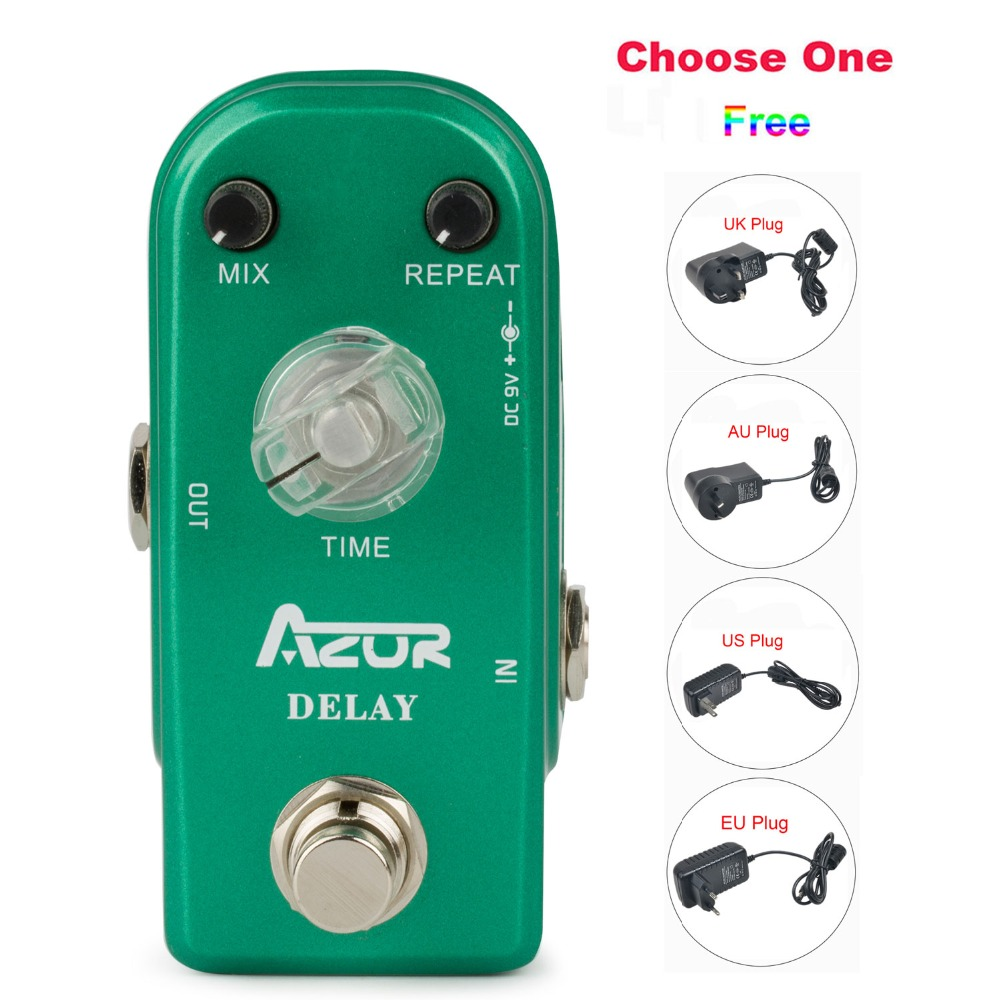 AP-306 Delay Guitar Effect Pedal Mini Size with Ture Bypass+9V/1A AU/EU/US/UK Plug Adapter and 8 Heads  Connecting Cable eu us uk au 9v dc 1a guitar effects power supply source adapter power cord leads 3 daisy way chain cable fot fonte pedal