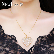 Full CZ Paved Love Heart Pendant necklace Sliver Gold Color Statement necklace Fashion Jewelry for Women Gift NJD001601