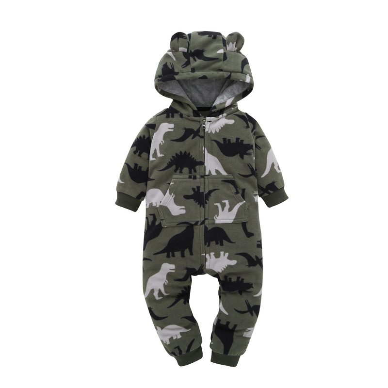 HTB1NnA4lVooBKNjSZPhq6A2CXXa2 2018 New Bebes Clothes Newborn One Piece Fleece Hooded Jumpsuit Long Sleeved Spring Baby Girls Boys Body Suits Romper