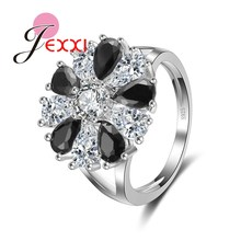 JEXXI Luxury Women White + Black Drop Cut Cubic Zircon Rings Bridal Jewelry Top Quality 925 Sterling Silver Ladies Flower Ring