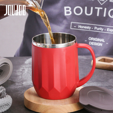 JOUDOO 400ml Coffee Mugs Thermos Insulation Stainless Steel Water Bottle Cups Drinkware With Handle Lid Tea Mug for Office 35