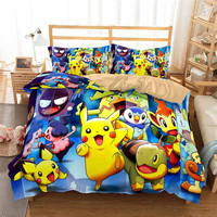 HELENGILI 3D Bedding Set Pokemon Pikachu Print Duvet Cover Set Bedcloth with Pillowcase Bed Set Home Textiles #GN 35