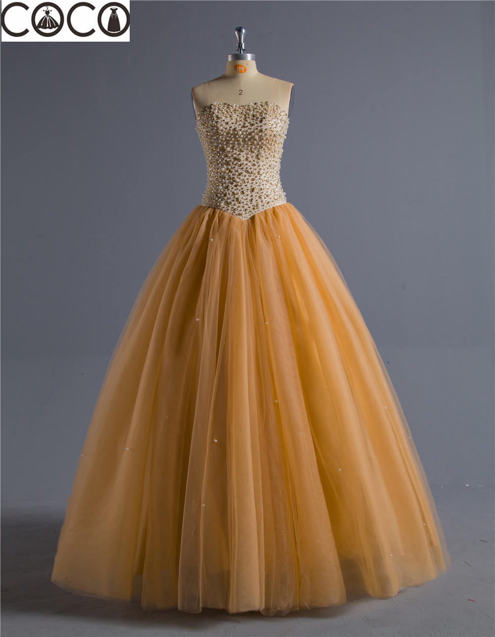2015 cocodress ball gown gold sweetheart organza beaded for Wedding dresses with gold beading