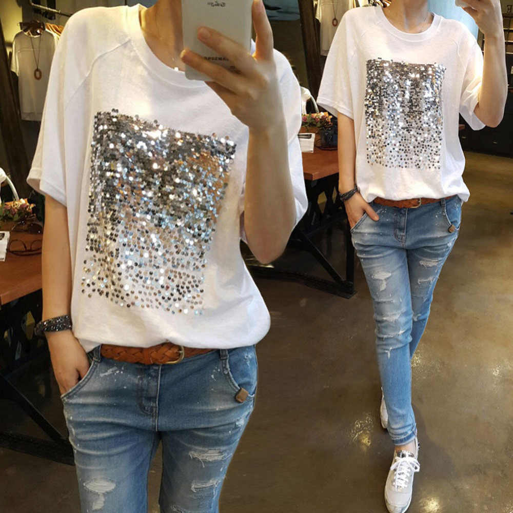 6d156a7f68e7f Summer Short Sleeve Sequined T Shirt Women Casual Loose Tee Top Black White  Sequins Patch Shirts