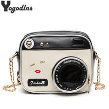 Fashion PU Leather Shoulder bag Strap Bag Style Case camera design cute mini chain crossbody bag women small vintage purse(China)
