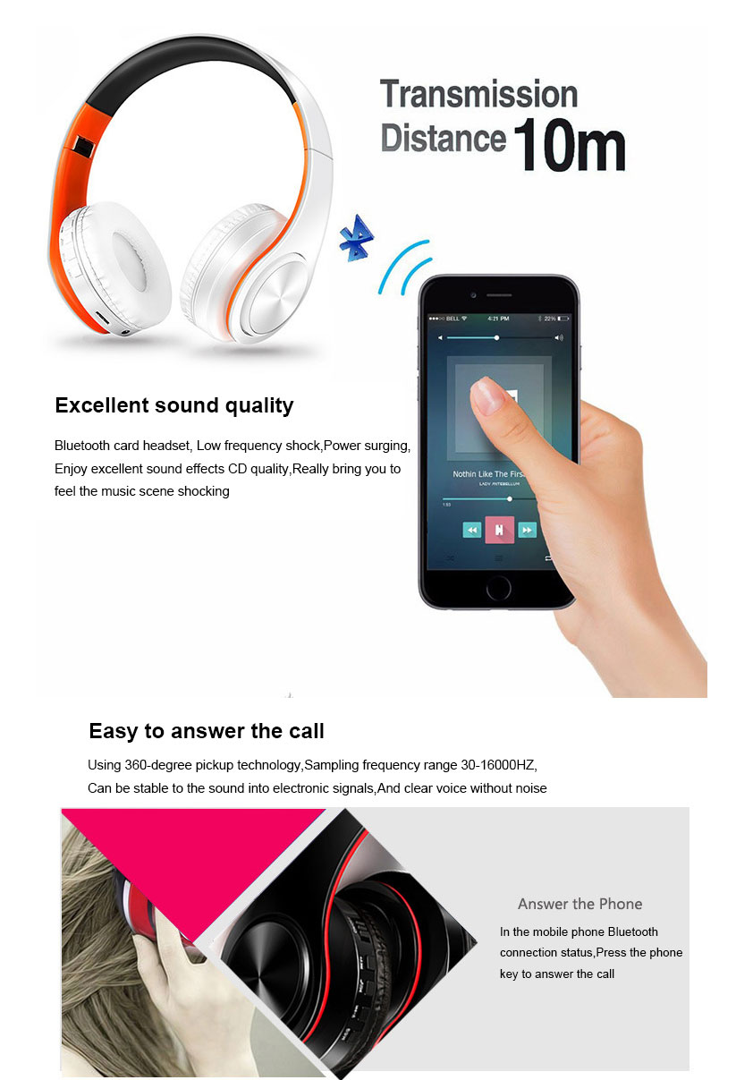Wireless Earphones Stereo Wireless Bluetooth Headset Portable Cordless Headphone support FM Radio TF Card with MIC for Phone (2)