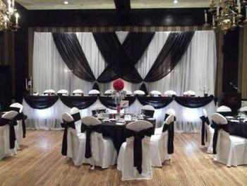 10 pies x 20 pies negro con blanco boda telón de fondo escenario cortina evento Decoración
