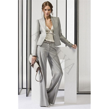 New Light Gray Women's Business Suits Office Uniform Designs Women Trouser Suit Female Formal Work Wear 2 Piece Sets Custom Made