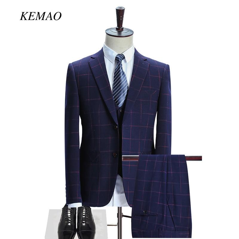 KEMAO 2018 Famous Brand Mens Suits Wedding Groom Plus 3 Pieces(Jacket+Vest+Pant) Slim Fit Casual Tuxedo