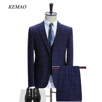 KEMAO 2018 Famous Brand Mens Suits Wedding Groom Plus 3 Pieces(Jacket+Vest+Pant) Slim Fit Casual Tuxedo