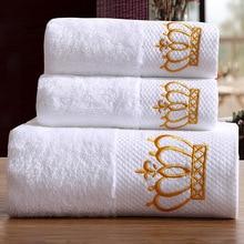 3 шт Hotel Роскошные вышивки белая корона Ванна Полотенца комплект 100% хлопок Большое пляжное полотенце Абсорбент быстро сохнет Ванная комната Полотенца T6