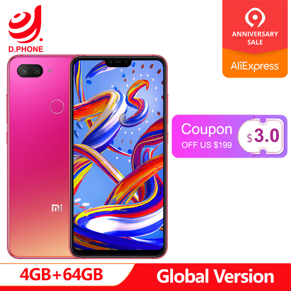 Original versión Global Xiaomi mi 8 Lite 4 GB 64 GB 6,26 19:9 Pantalla completa mi 8 Lite Snapdragon 660AIE Octa core 24MP cámara frontal