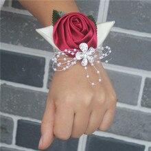 Burgundy Satin Rose Flores Leaf Wedding Wrist Flowers Bridesmaid de Marriage Pearls Crystal Corsages SW0677Y