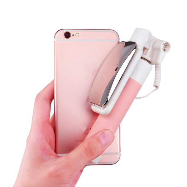 Mini Wired Extendable Handheld Selfie Stick Monopod with Mirror