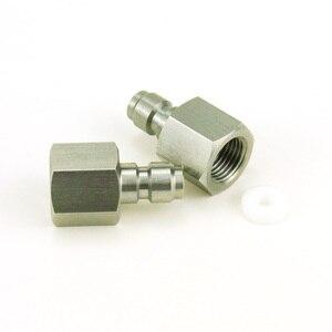 Image 3 - 3 ピースペイントボールエアガンエアガン PCP クイックディスコネクトプラグ充電ホースアダプター糸 1/8NPT 1/8BSP ステンレス鋼乳首記入