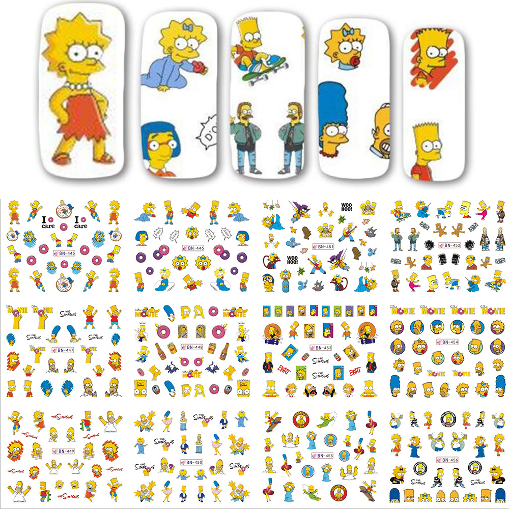 12 Designs/set Yellow Cartoon Family Nail Sticker Water Transfer Nail Art Tattoo Temporarily Nail Tip Decals Decor SABN445-456N zq 002 spain flag world cup water transfer nail sticker accessories football serie nail tattoo 22 different design
