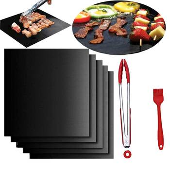 3 mats+ Silicone brush +1pcs Food clip Reusable BBQ Grill Mat Baking Easy Clean Grilling Fried Sheet Outdoor Picnic Cooking Tool non stick bbq mat