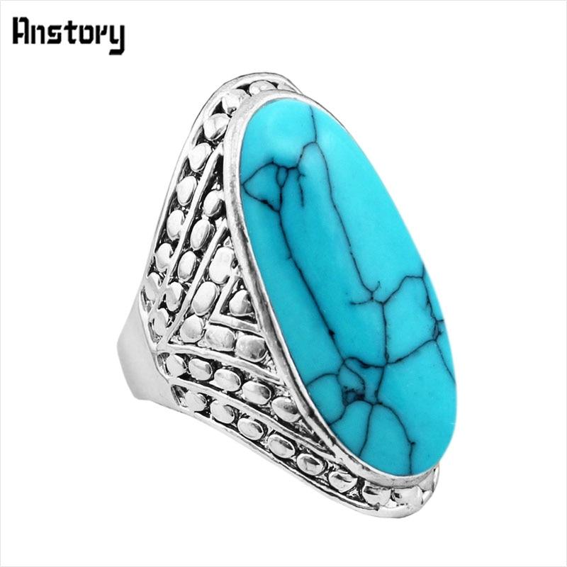 Crack Dot Oval Blue White Stone Rings For Women Vintage s