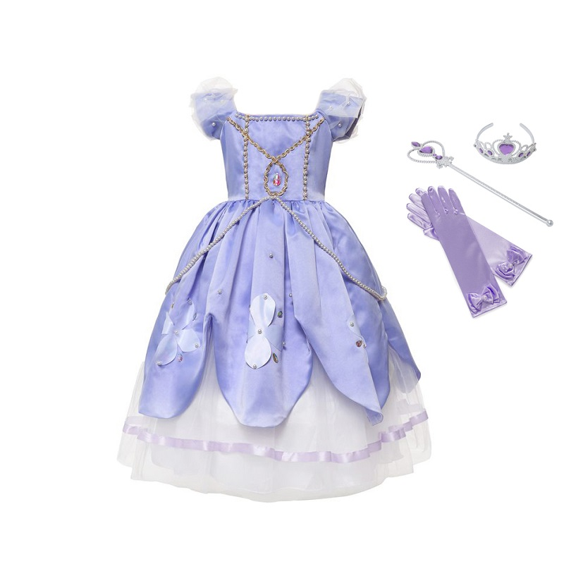 f9ac526edff85 Detail Feedback Questions about VOGUEON Girls Deluxe Sofia Dress Blue and  Pink 2 Colors Beading Layer Princess Party Cosplay Costume Gift for  Birthday ...