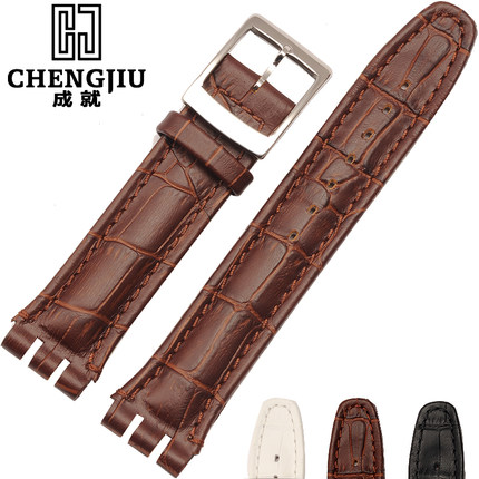 Italian Leather Watch Band For Swatch Watches Strap Wrist Band 17 19 21 23 mm Watchband Straps Clafskin Men Women Watchband for swatch leather watch band 17 mm clock pink silver punch women watches band straps wristband bracelet belts wacht relogio