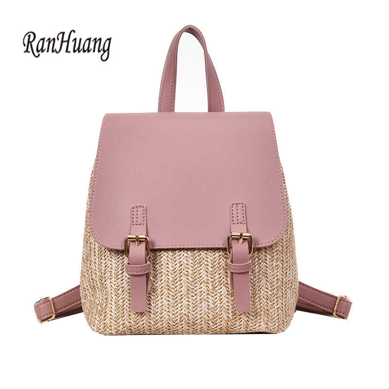 7dd7c9ea0580 RanHuang New 2018 Women Fashion Backpack Summer Backpack Straw Bag School  Bags For Teenage Girls Travel