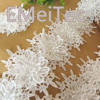 3D off White water-soluble lace flowers Handmade Floral Headwear Wedding Party Tops Lace Fabrics Jewelry Accessories 1meter/lot